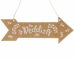 3 WEDDING ARROW HANGING Paper Card Party Venue Two Sided Direction Hanger Sign
