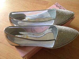 Ladies Fantazia Silver/mesh Flat Size 7/40 Shoes, New Shop Clearance