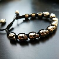 Totenkopf Armband Skull Totenköpfe Schädel Silber schwarz elegant modern Gothic
