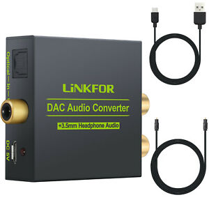 Coaxial Digital to Analog Audio Converter 3.5mm Jack RCA Adapter w/Optical Cable