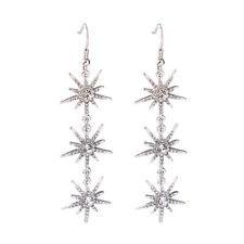 Crystal Pave Starburst Drop Statement Earrings for Women Radiation Star Jewelry