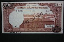 1951 Morocco Maroc 500 Francs Banknote Specimen TDLR P 45B