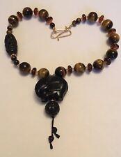 Tiger Eye Beaded Carved Elephant Necklace