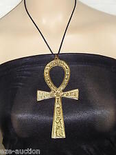 """HUGE 6"""" ANKH KEY OF LIFE DOUBLE FACE BRASS METAL PENDANT NECKLACE"""