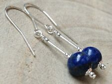 Round Lapis Lazuli Gemstones Sterling Silver Drop Earrings