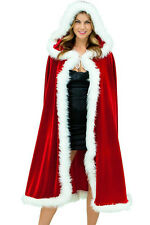 Deluxe Mrs. Santa Claus Soft RED VELVETY CHRISTMAS Faux Fur HOODED CAPE 7257
