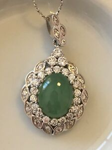 Genuine Beautiful 4ct Icy Jadeite Jade (Type A) 925 Silver Pendant with Chain