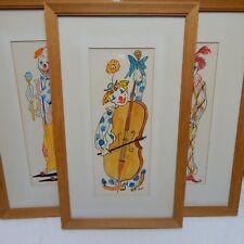 Three Clown Watercolors Whimsical Vintage Artwork Artist B.B. Framed