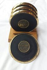Vintage Brass & Rubber Drink Coasters 1983 Achievers Club 4 Pc Set Wood Holder