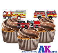 PRECUT Fire Engine 12 Edible Cupcake Toppers Cake Decorations Birthday Party