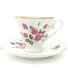 Vintage Walbryzych Porcelain China Tea Cup Saucer Pink Roses