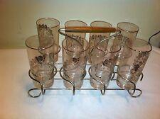 Vintage Glass Set of 8 25th Wedding Anniversary Glasses  danish modern holder
