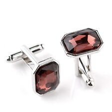 Dark Red Stone Jewel Silver Square Cufflinks Formal Suit UK Seller
