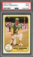 1981 fleer #574 RICKEY HENDERSON oakland athletics (2nd year card) PSA 9