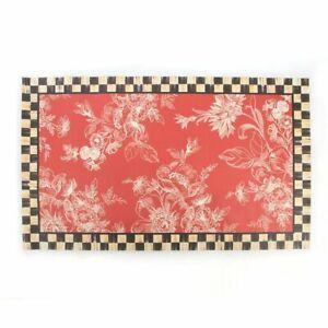 MacKenzie Childs Red Wild Rose 2 x 3 Vinyl Mat Courtly Check Border Brand New