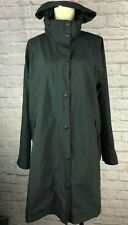 LL Bean Womens Black Rain Coat with Removable Hood 2 Inner Pockets Size L