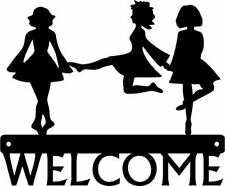 Welcome Sign Irish Dance Dancers - Metal - 12 inches - made in USA