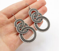 925 Sterling Silver - Vintage Etched Interlocked Design Dangle Earrings - E8221