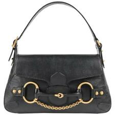 99b5502e5925 GUCCI A/W 2003 TOM FORD Black Genuine Leather Horsebit Shoulder Bag Purse