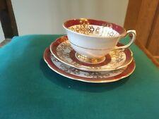 Vintage Royal Grafton Red White Gold Fine Bone China Tea Cup Saucer & Plate Trio