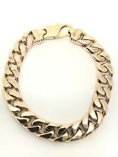 """9Carat (9ct) Gold Heavy Curb Bracelet - Yellow Gold - Solid - 8"""" Long - 58.51g"""