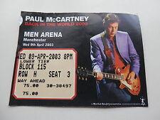 Paul McCartney Original 2003 Billet de concert
