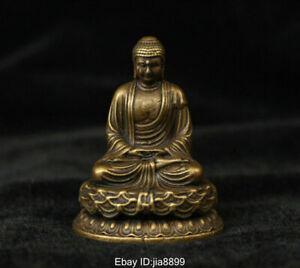Tibet Buddhism Brass Copper Seat Shakyamuni Amitabha Buddha Statue Sculpture
