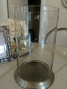 """Potterybarn - 10.5"""" tall Glass/Metal Hurricane Candle Holder etched stars Xmas"""