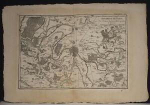 PARIS ÎLE-DE-FRANCE FRANCE 1787 BONNE ANTIQUE ORIGINAL COPPER ENGRAVED MAP