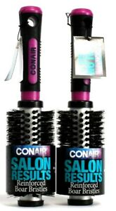2 Conair Professional Salon Results Reinforced Boar Bristle Hairbrush Purple