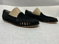 Matt Bernson Perforated Leather Pointy Black Suede Flats Size 5~NICE