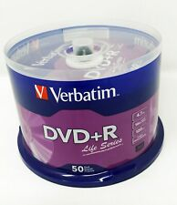 Verbatim DVD+R Single Layer 4.7 GB Life Series 120 Min 16x 50 Pack Spindle New