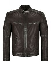 SPEEDWAY Men Leather Jacket Fitted Brown Classic Racer Style Fashion Jacket 1829