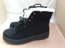 SQL Black Lace Up Faux Suede Fur Lined Ankle Boots Size EU 35/UK 2.5