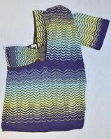 A7 Auth MISSONI Multicolor Zig Zag Knit Cotton/Viscose One Shoulder Top Sz US 6