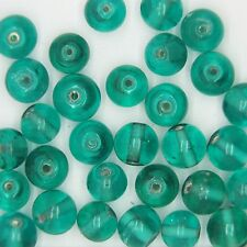 Glass Beads Teal Transparent Round 8mm. Pack of 30. Made in India.