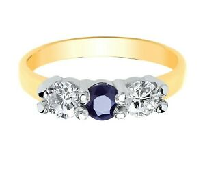 Sapphire Three Stone Ring Solid Yellow Gold Hallmarked British Made Solid Gold