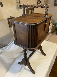 Vintage Wood Standing Sewing / Knitting Box Antique
