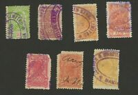 1908 Brazil Cancelled Revenue Fiscal Stamps (7) from Grandfather's Pay Checks