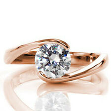 Rose Gold Size 5 6 7 8 9 2.00 Carat Round Moissanite Engagement Rings 14K Solid