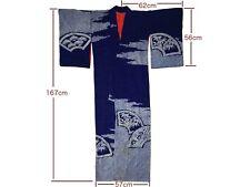 Vintage Blue Silk Shibori Ogi Japanese Fan Design Kimono Nov17-A