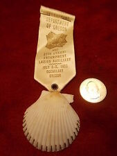 #32 of 47, OLD VTG VFW MEDAL/RIBBON, OREGON DEPT LADIES AUX. 1955 CLAM SEASHELL