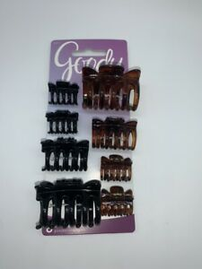 Goody Variety of Sizes Claw Hair Clips 8pc Plastic Tortoise/Black #46033