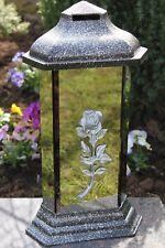 Grablicht 38cm Grablaterne silber Lampe Grableuchte Glas Grabschmuck 25