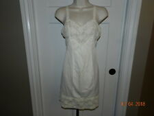 Vintage Movie Star Ivory Silky Nylon Tricot Empire Slip Lingerie 32-short