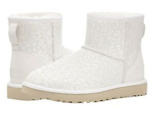 NEW UGG Uggs CLASSIC MINI SNOW LEOPARD White Metallic Boots Shimmer 7 10 EU 38 4