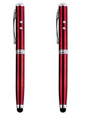 2x Puntero 4 en 1 Laser Linterna Boligrafo y Tactil para Movil y Tablet 2545rj