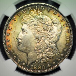 1880 P MS63 Morgan Dollar 90% US Mint Silver $1 Free Shipping UNC NGC Slab