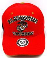 U.S. MARINE CORPS VETERAN Cap Hat United States Marines Military USA Red NWT