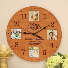 Personalized Laser Engraveable Wood Photo Frame Wall Clock
